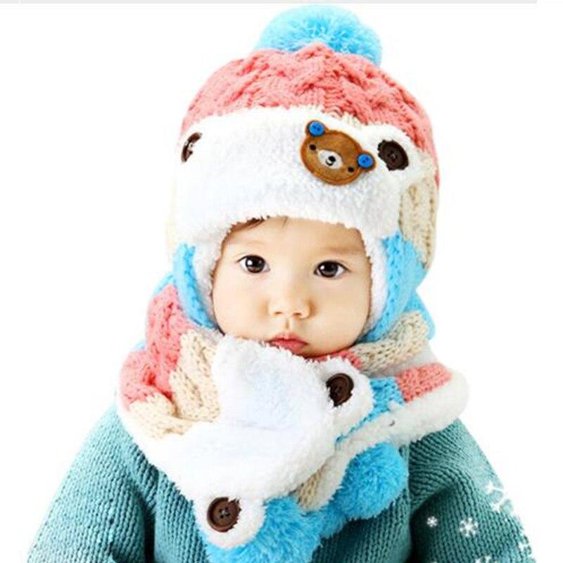 DreamShining Baby Hat Cartoon Boy Girl Knitted Cap Striped Woolen Caps Newborn Bear Baby Beanies Hats Scarf Sets Winter Warm