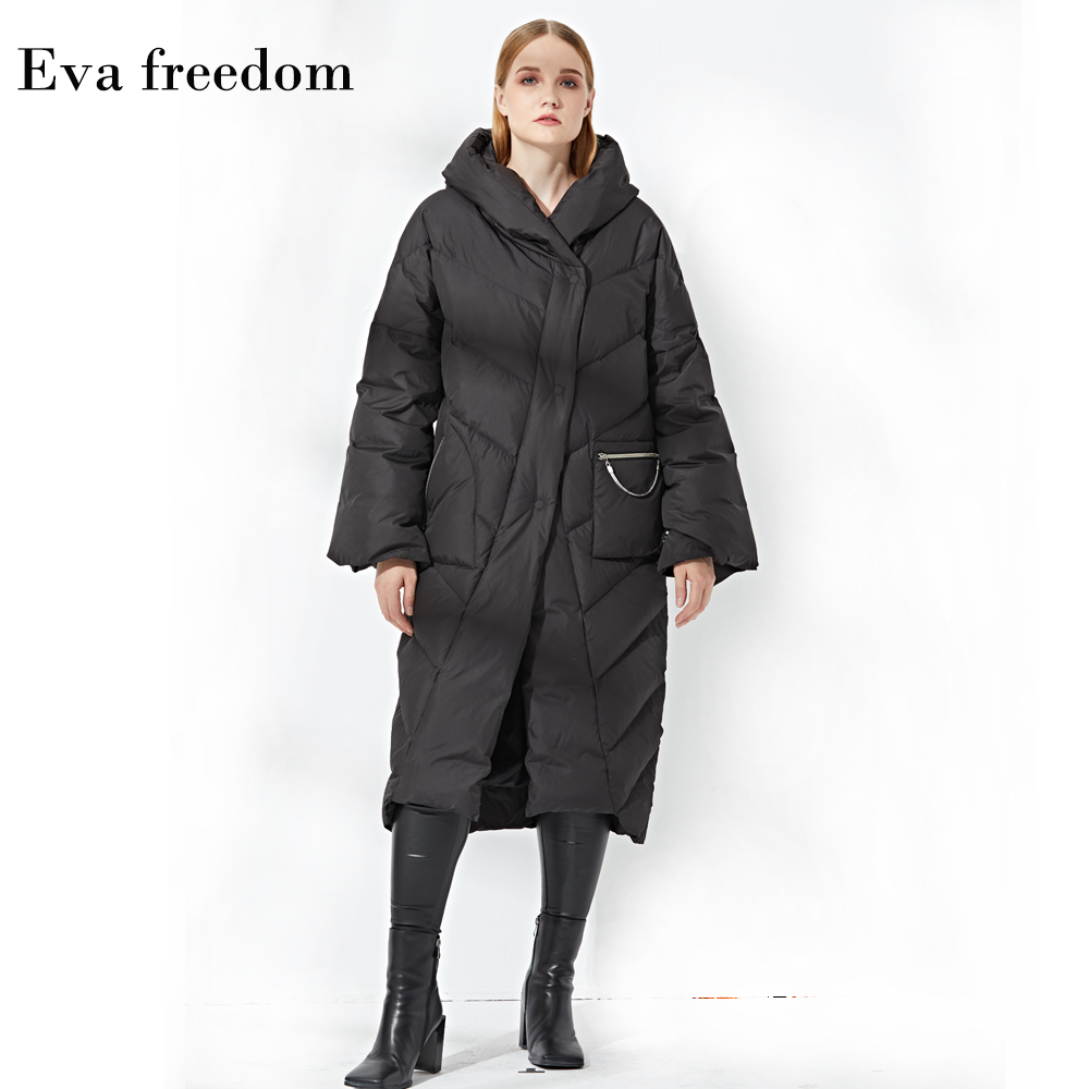 9021f599c US $100.47 49% OFF 2018 Winter European Fashion Hooded Long Down Jacket  Women Large Size Warm Snow Coat Female Outerwear Clothing-in Down Coats  from ...