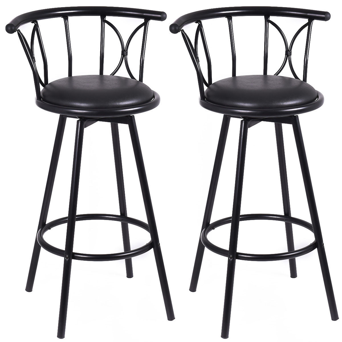 Giantex Set of 2 Black Barstools Modern Swivel Rotatable Chairs Steel Tall Counter Bar Chair Home Bar Furniture HW51779 manitobah унты tall grain mukluk женск 11 black черный