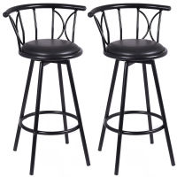 Giantex Set of 2 Black Barstools Modern Swivel Rotatable Chairs Steel Tall Counter Bar Chair Home Bar Furniture HW51779