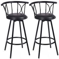 Giantex Set of 2 Black Barstools Modern Swivel Rotatable Chairs Steel Tall Counter Bar Chair Home Bar Furniture HW51779