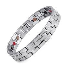 Healing Magnetic Bracelet Men/Woman 316L Stainless Steel 3 Health Care Elements(Magnetic,FIR,Germanium) Gold Bracelet Hand Chain
