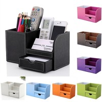 Home Office Desk Organizer Storage Box PU Leather Table Stationery Pen Holder