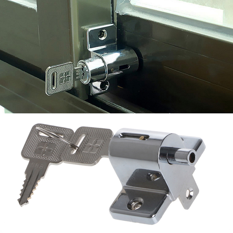 Aluminum Sliding Patio Door Window Bolt Locking Catch Push Lock Security Child