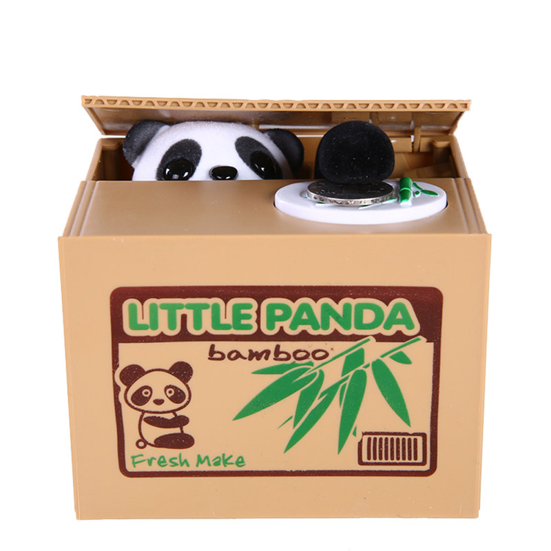 panda Mischief saving box funny toy joke automatic electric stole coin fun useless box piggy bank lizunov trick antistress gift the football game comes to coin money toy box pastic coin cases hidden safe kids piggy bank money toy game bank safe magic jbzq