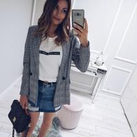 2018 Fashion Autumn Winter New High Quality Slim Elegant Women S Plaid Coat Short Coat Office