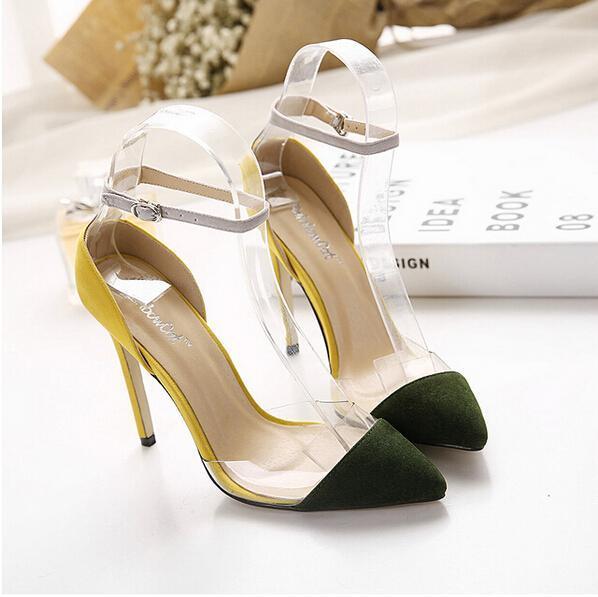Plus size 2016 Nueva marca empalme transparente punta estrecha boca baja tacones altos solos zapatos de las mujeres de señora pumps Partido sandalias
