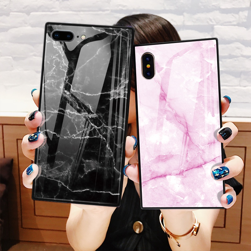 TOMKAS Black Luxury Marble Phone Case for iPhone 6 6s X Xs Glass Back Cover Case for iPhone 7 8 Plus Silicone Square Shockproof  (13)