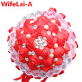 Durable Guarantee Red Silk Lace Stitch Bouquet Pearl Ornaments Wedding Flowers Lace Ribbon Bridal Bridesmaid Wedding Decoration