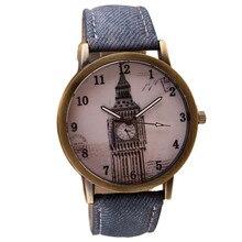 Attractive Fashion Retro Clock Tower WristWatch Cowboy Leather Band Analog Quartz Watch SP16