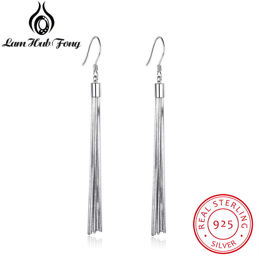 Genuine 925 Sterling Silver Tassel Dangle Earrings Women Metallic Long Earrings Party Fine Jewelry Gift for Friend(Lam Hub Fong)