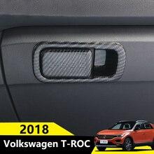 Углеродного волокна автомобиль бардачок пилот хранения переключатель ручка блестки наклейки Накладка для Volkswagen VW T-ROC 2017 2018 аксессуар