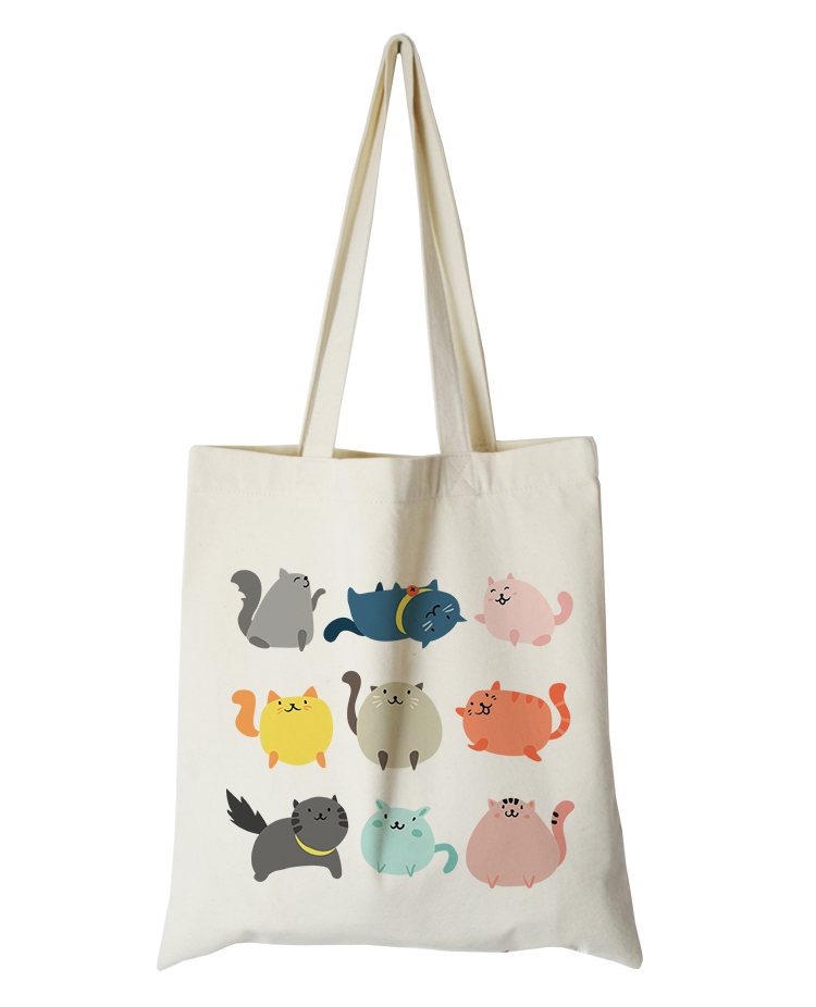 cute cat series canvas custom tote bag customized eco bags custom made shopping bags with logo  Dachshund Shepherd Dog Poodle (1)