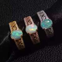 Natural opal Ring Natural gemstone ring 925 sterling silver trendy Elegant big Hollow round women girl party gift Jewelry