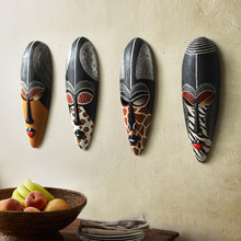 Hot Retro Resin Exotic African Masks Portraits Hanging Wall Mural Wall Hanging Ornaments Home Accessories, Best Gift(China)