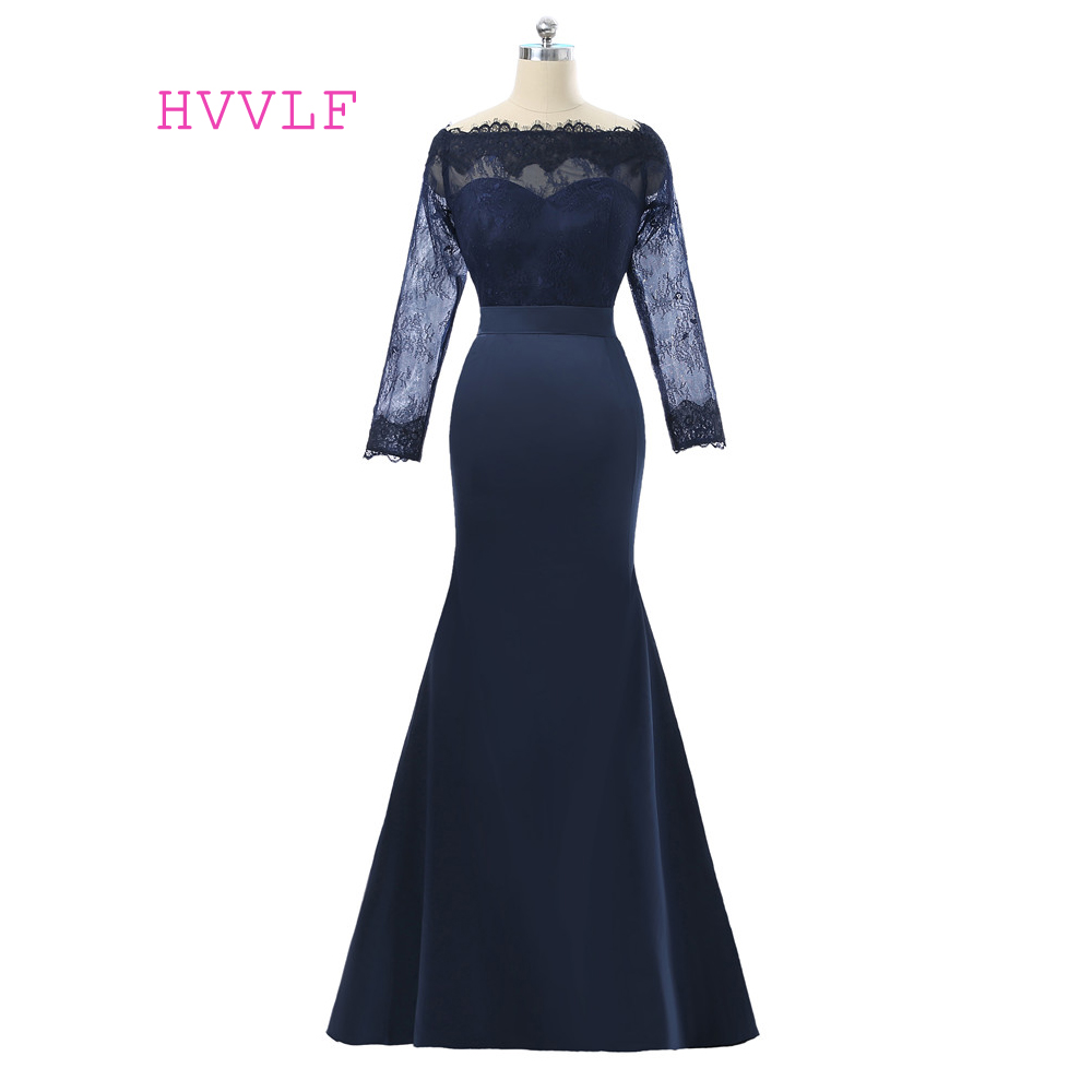 Navy Blue 2019 Mother Of The Bride Dresses Mermaid Long Sleeves Lace Groom Mother Dresses Long Evening Dresses For Weddings