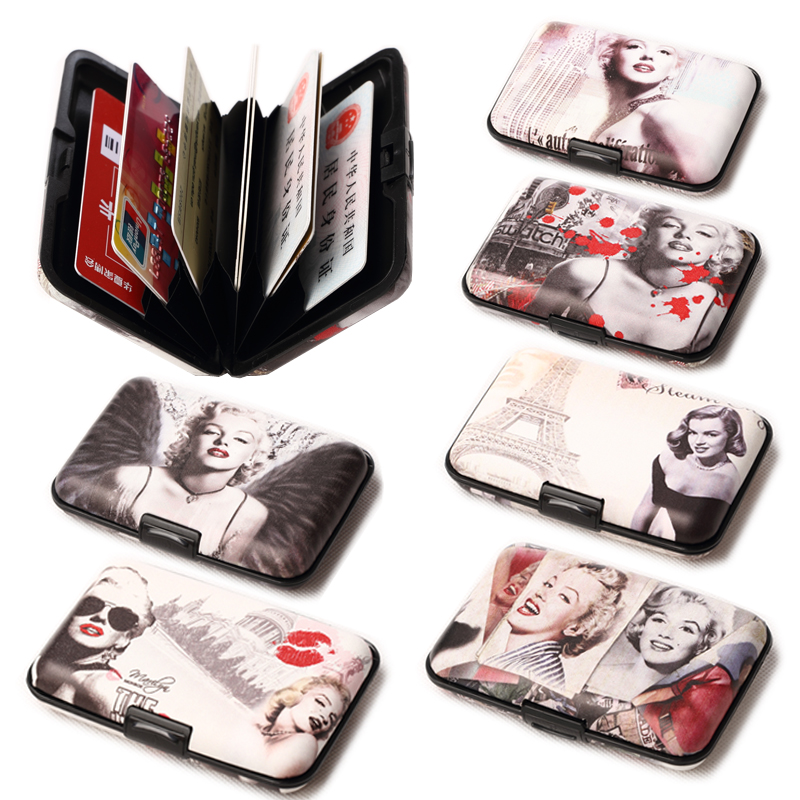 Annmouler Fashion Women Wallets Marilyn Monroe Pocket Waterproof Wallet Business ID Credit Card Purse Cash Holder With Gift Box