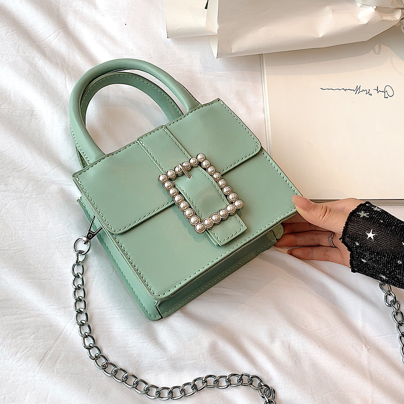 Elegant Small Tote Bag For Women 2020 New Quality Leather  Designer Mini Purses And Handbags Pearl Lock Chain Shoulder Messenger