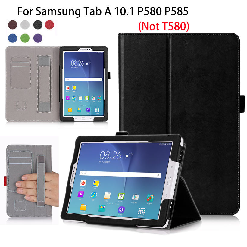 Tablet Case Cover For Samsung Galaxy Tab A A6 10.1 S-Pen versions P580 P585 Case Flip PU Stand With hand Holder Shell Funda