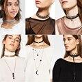 2016 Nueva ZA Marca Gargantilla Collar de Cristal de Las Mujeres Collar de Declaración de moda Colgante Collar de Cuero Collares y Colgantes de La Joyería