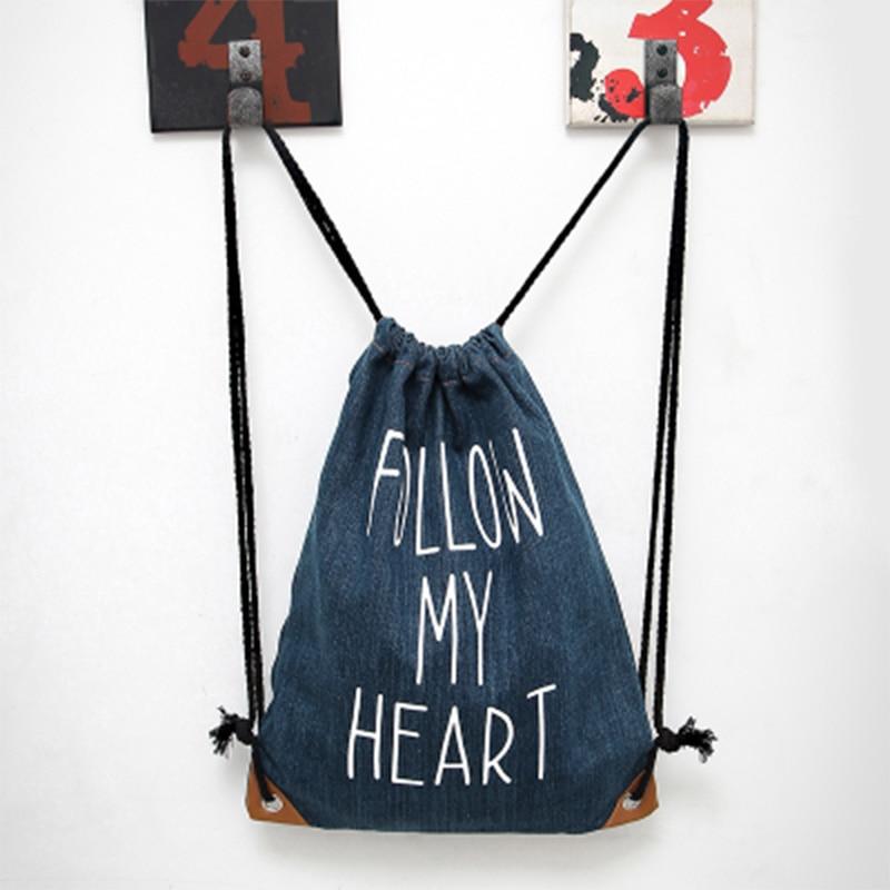 Aosbos Denim Kasut Sukan Kasut untuk Wanita Beg Beg Beg Drawstring Canvas Gim Beg Backpack Boleh Diandalkan Beg Latihan Luar Rucksacks Boys
