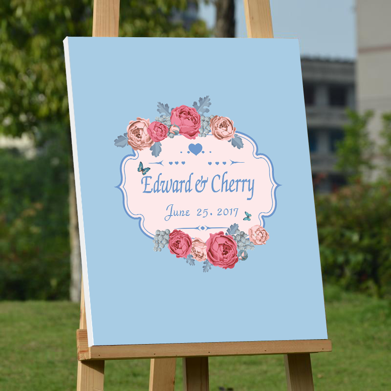 Personalized Wedding Canvas: Personalized Wedding Guest Book ,Rose Wedding Guest Book