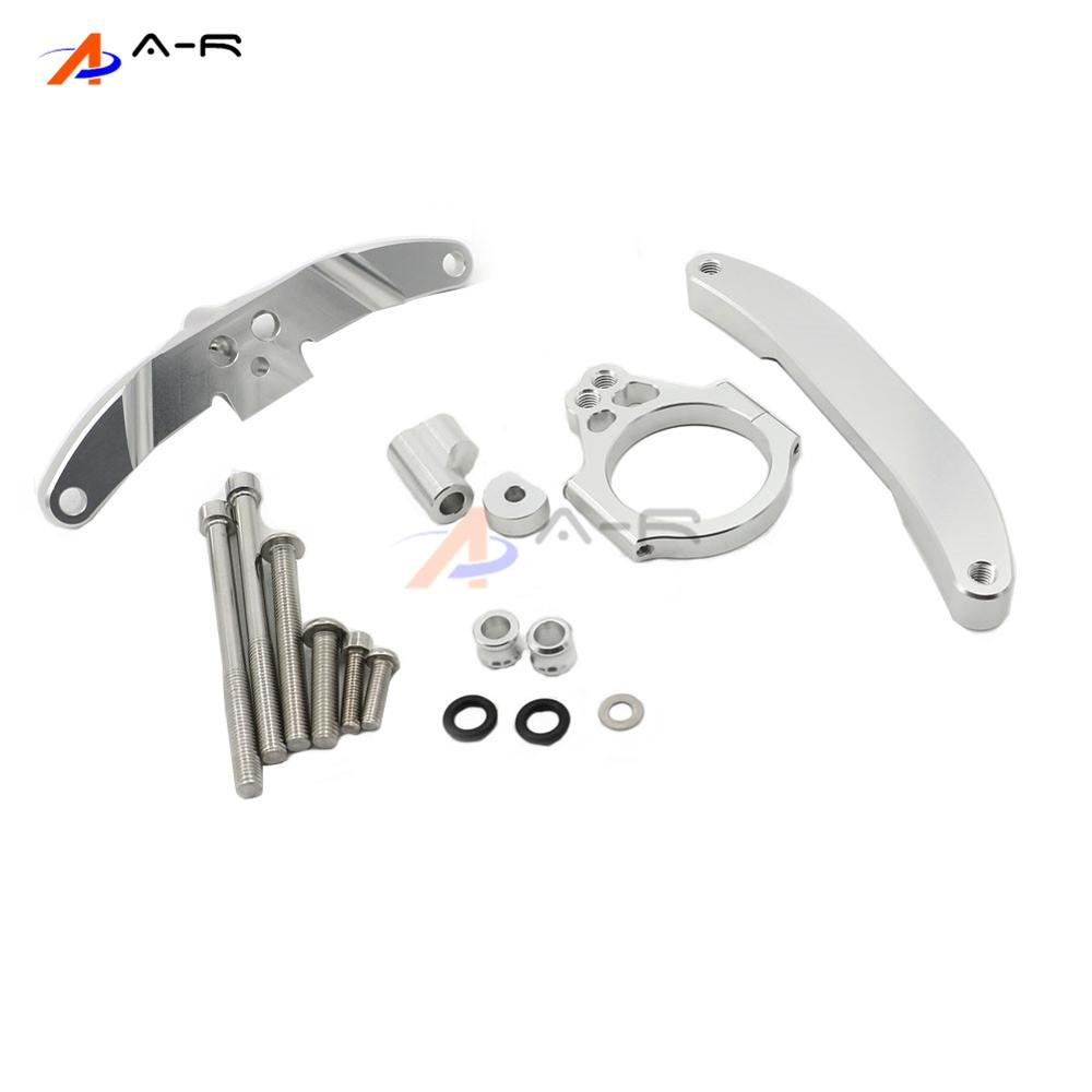 Silver CNC Direction Steering Damper Stabilizer Bracket for Yamaha FZ1 FAZER 2006-2015 2014 2013 2012 2011 2010 2009 2008 2007 motorcycle steering damper mounting bracket kit for yamaha fz1 fazer 2006 2015 2007 2008 2009 2010 2011 2012 2013 2014