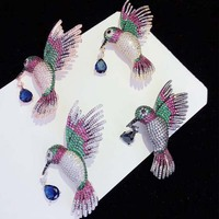 wow! zircon bird multicolor brooch 57*23mm nature wholesale FPPJ hand make