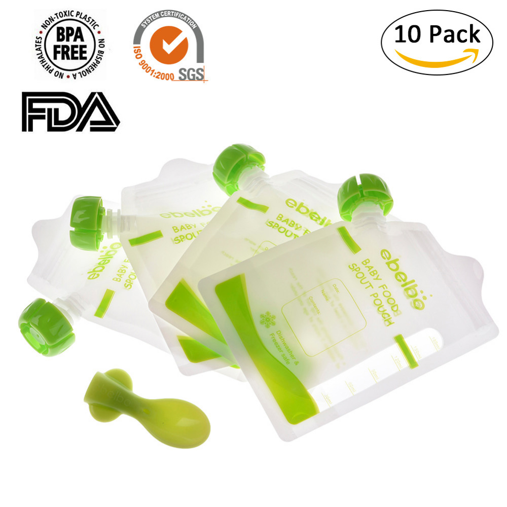 Baby food pouches Feeding Supplies bag Double Zippers Reusable food pouch Refillable Complementary food box 10 PCS drop shipping