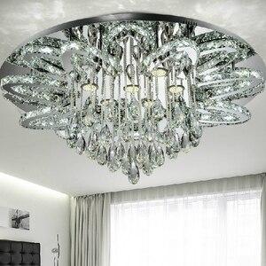 Image 2 - Yaratıcı yuvarlak kristal lamba oturma odası LED Tavan Işıkları rahat yatak odası ile dekore edilmiş restoran aydınlatması 90 260 V