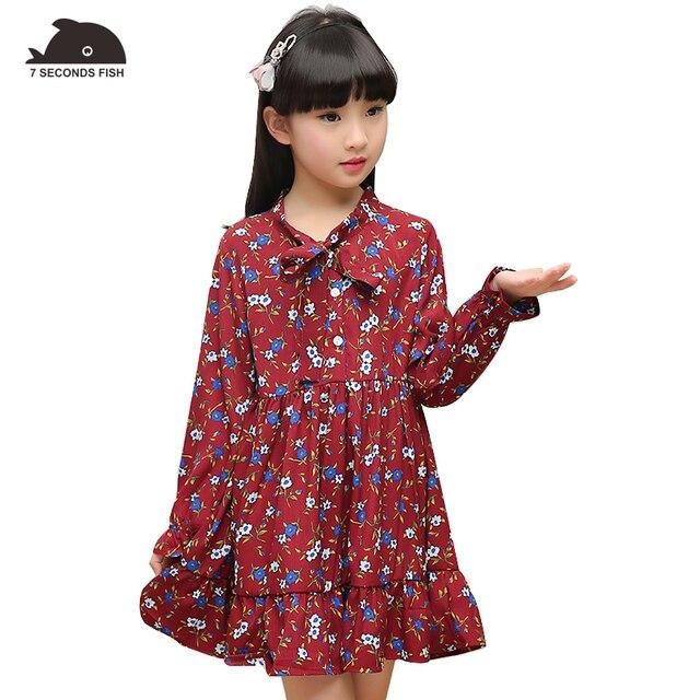 Vestidos para niñas 2019 primavera floral chifón manga larga niñas vestido 3 5 7 8 10 12 años otoño vestidos de niñas traje