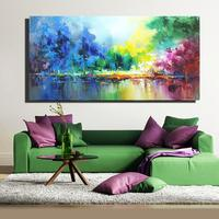 Hand painted Landscape Oil Painting on Canvas Moutain Tree Lake Scenery Wall Art Modern for Living Room Bedroom Home Decoration