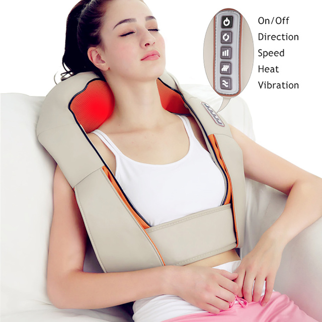 U Shape Electrical Shiatsu Back Neck Shoulder Body Massager Car&Home Use Infrared Stress Relieve Massage Belt Massage Tool