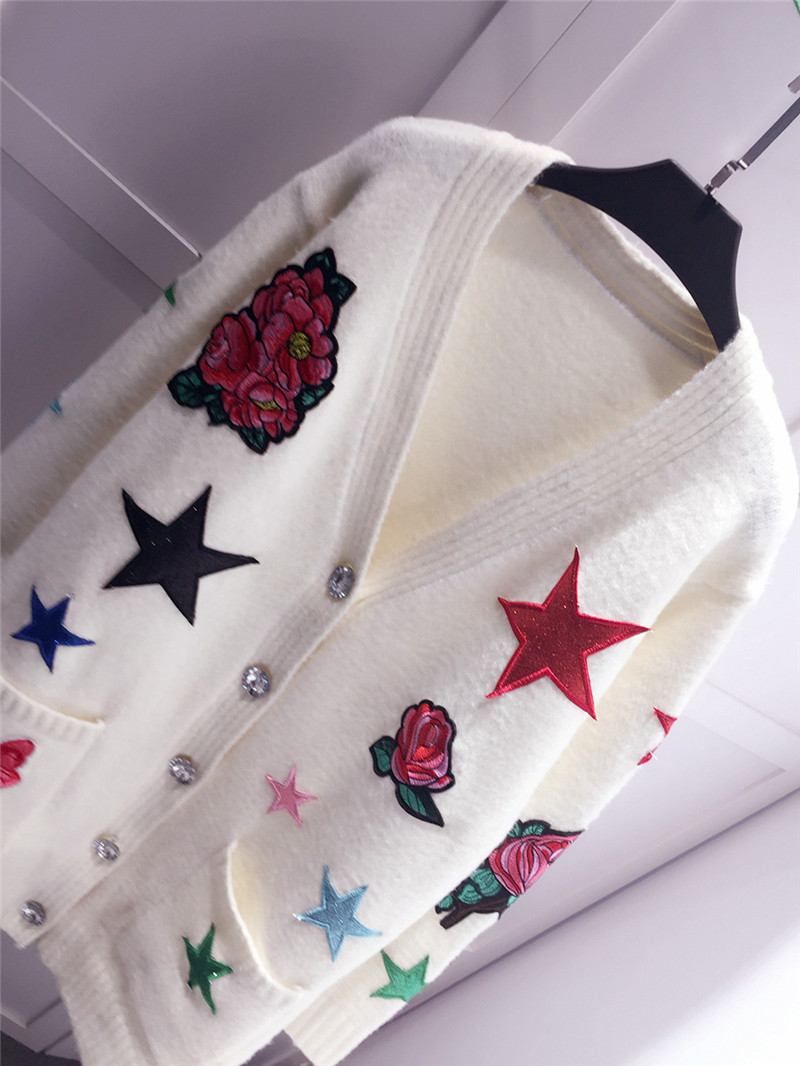 Unique Manteau Mode Cardigan Poitrine Mi Long S Tricot Chandail l Exquise Broderie Femmes De m 1wxvUR4z