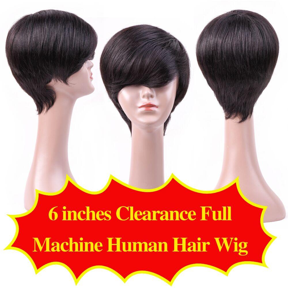 Allrun Μηχάνημα Made Front Μαλλιά Περούκες - Ανθρώπινα μαλλιά (για μαύρο) - Φωτογραφία 6