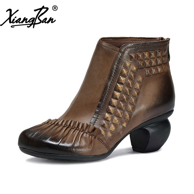 2017 high heel women ankle boots thick heel sheepskin fashion ladies short boots rivet comfortable autumn winter shoes qiu dong in fashionable boots sexy and comfortable women s shoes the new national style high heel heel thick heel