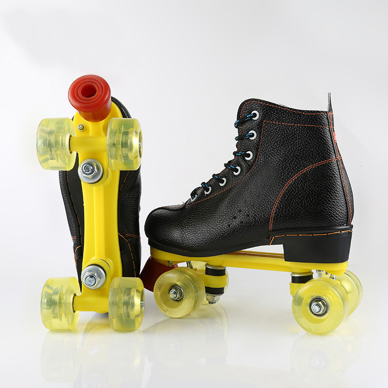 Unisex Double Line Adult PU Leather Quad Parallel Figure Skates Shoes Boots PU Wheels Shockproof With Brake Breathable Lace-UpUnisex Double Line Adult PU Leather Quad Parallel Figure Skates Shoes Boots PU Wheels Shockproof With Brake Breathable Lace-Up