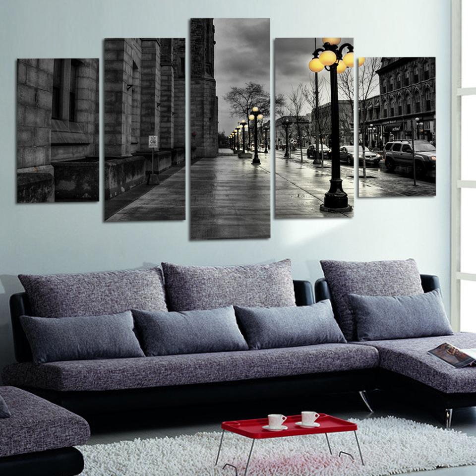Moderne leinwandbilder retro ink gemälde stadtstraße landschaft poster wohnzimmer wandkunst kein rahmen 5 stück deco wallapper