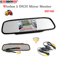 Koorinwoo 2.4G Wireless Car TFT LCD Mirror Monitor Rearview Display Parking Assistance 12V For car parking camera/ DVD RCA