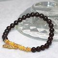 Free shipping natural garnet strand bracelets 6mm round beads gold-plated lucky pendant wholesale price jewelry 7.5inch B2099