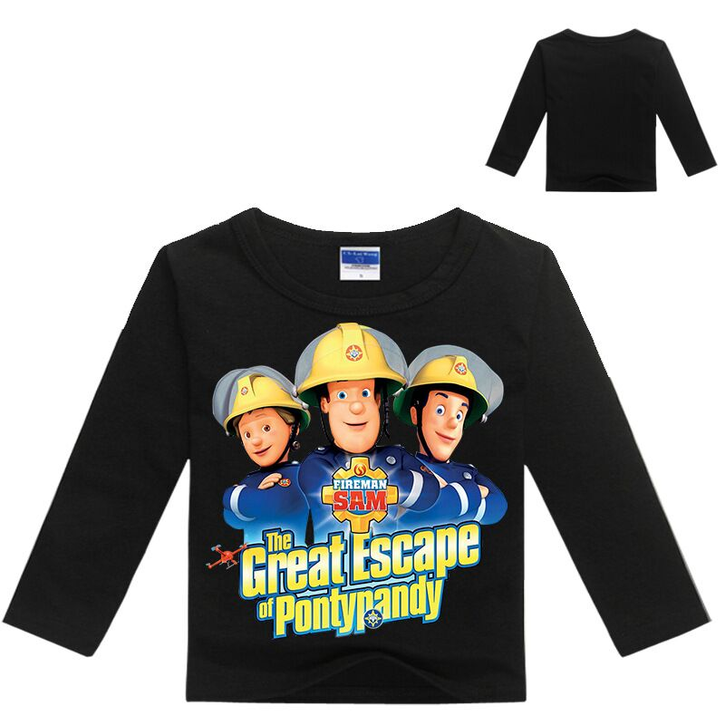Girls Shirt Tattoo-Sleeves Fireman Sam Tops Kids Wholesales Children Spring 2-12years
