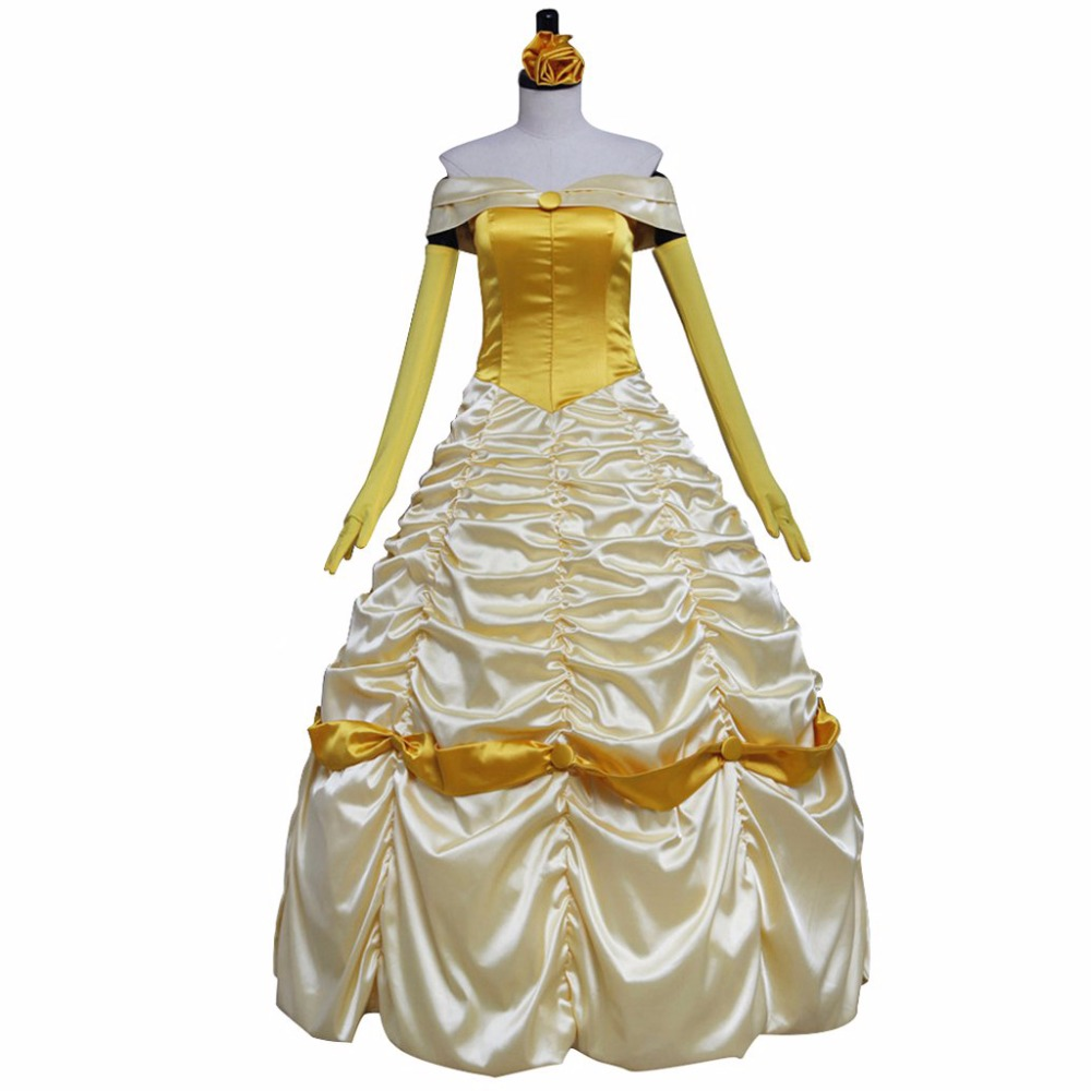 Beauty and the Beast Belle Princess Dress Cosplay Costume Custom Made Yellow Version for Evening Ball Gown Party