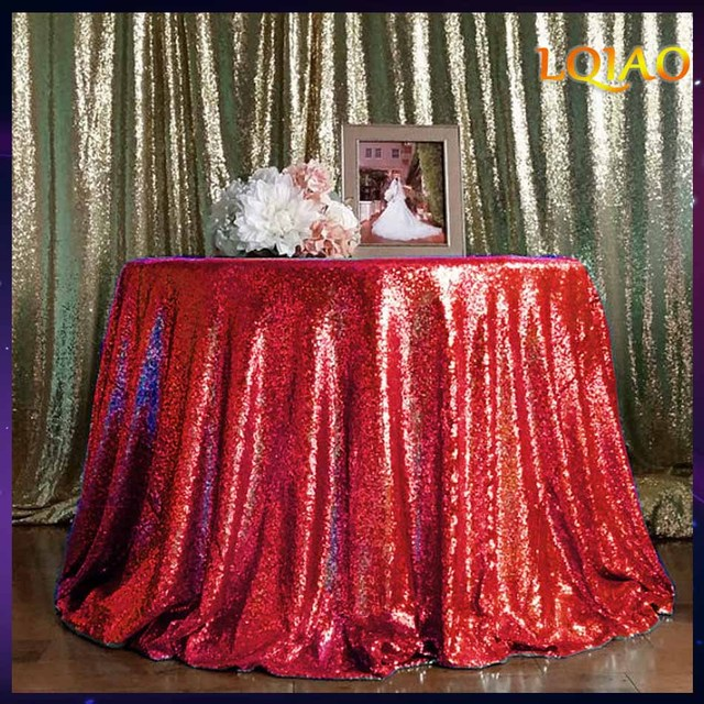 Red Sequin Embroidery Tablecloth For Wedding Hotel Party Sparkling Table  Cloth 120 Round Table Cover Decoration
