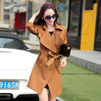 European and American women new 2017 spring and autumn women Slim classic fashion coat long fashion jacket Windbreaker. 160 6