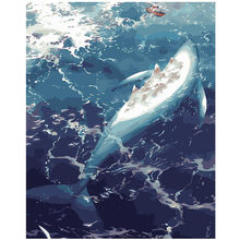 WONZOM Blue Sea Whale-DIY Oil Paint By Numbers kit for adults,Wall Art picture,Digital Canvas Painting by numbers 40X50cm(China)