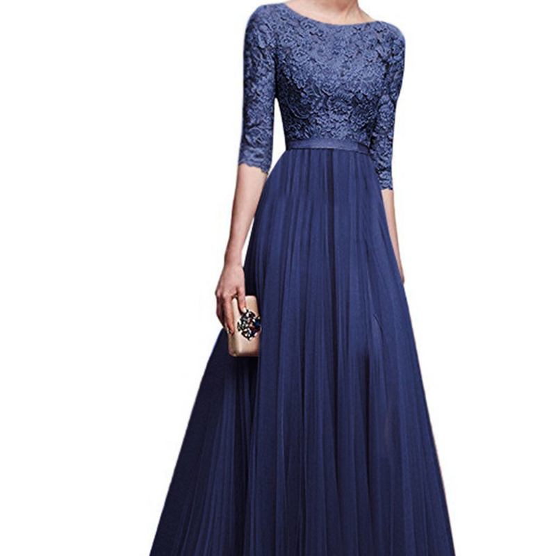 U-SWEAR 2019 New Arrival Women Fashion   Evening     Dresses   O-Neck Half Sleeve Chiffon Floor-Length Party Prom Formal Gowns Vestidos