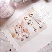 Korea Handmade Cartoon Heart Plaid Ball Princess Women Drop Earrings Bangle Fashion Jewelry Accessories-JQD5