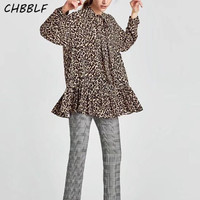 Mujeres Bow tie collar leopardo camisas oversized manga larga plisada blusa informal suelta tops blusas XSZ17147
