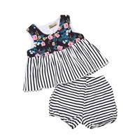 Set Summer Cotton Infant Baby Girls Clothes Striped Sleeveless Shirt Shorts Pants Floral Sundress Outfits 2pcs