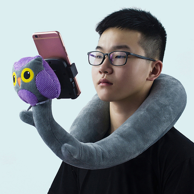 New Multi-function Lazy Mobile Phone Holder Pillow Memory Foam U-shaped Pillow 2 In 1 Neck Pillow Snake Shape Phone Stand Pillow
